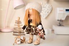 Handmade doll. Pretty handmade chic interior dolls Stock Images