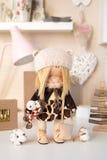 Handmade doll. Pretty handmade chic interior dolls Stock Image