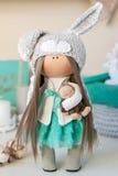 Handmade doll. Pretty handmade chic interior dolls Royalty Free Stock Photo