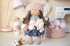 Handmade doll. Pretty handmade chic interior dolls Stock Photos