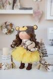 Handmade doll. Pretty handmade chic interior dolls Royalty Free Stock Image