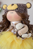 Handmade doll. Pretty handmade chic interior dolls Stock Photos