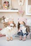 Handmade doll. Pretty handmade chic interior dolls Stock Photo