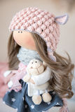 Handmade doll. Pretty handmade chic interior dolls Royalty Free Stock Photo