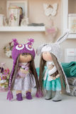 Handmade doll. Pretty handmade chic interior dolls Royalty Free Stock Photos