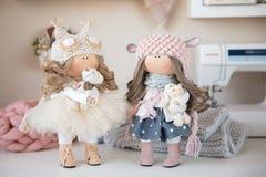 Handmade doll. Pretty handmade chic interior dolls Royalty Free Stock Photography
