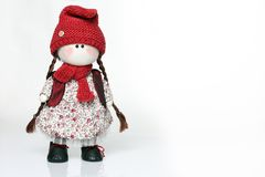 Handmade doll on white background stock images