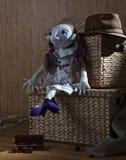 Handmade doll in white dress Royalty Free Stock Image