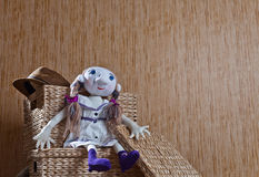 Handmade doll in white dress Royalty Free Stock Photography
