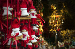 Handmade dolls. Handmade decorative dolls in a Christmas market in Vienna, Austria Stock Photo