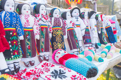 Handmade dolls. Exhibited for sale at the Village Museum in Bucharest stock image