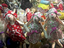 Handmade dolls girls in the shop window Royalty Free Stock Photography