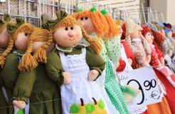 Handmade dolls sold. Stock Photo