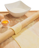 Handmade dough  with fresh egg. Stock Images