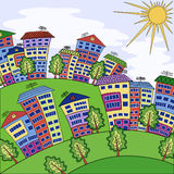 Handmade drawing city landscape, houses, trees, sun Stock Photo