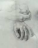 A handmade drawing of hands. (academic style Stock Photo
