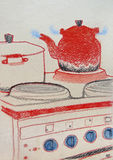Handmade drawing of a kettle on a hot cooker. Pastels on paper royalty free illustration