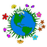 Handmade drawing planet Earth and flowers, nature conservation, ecology. For design Stock Photo