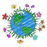 Handmade drawing planet Earth and flowers, nature conservation, ecology. For design Stock Image