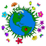 Handmade drawing planet Earth and flowers, nature conservation, ecology. For design Royalty Free Stock Images