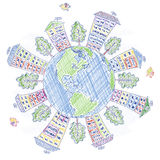 Handmade drawing planet Earth and houses, trees, birds stock illustration
