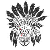 Handmade drawning Skull with indian feather hat. Grunge print template. Vector art. Stock Photos