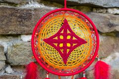 Handmade dream catcher with feathers threads and beads rope hanging. Dream catcher with feathers threads and beads rope hanging. Dreamcatcher handmade, dream stock images