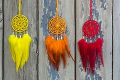 Handmade dream catcher with feathers threads and beads rope hanging. Dream catcher with feathers threads and beads rope hanging. Dreamcatcher handmade, dream stock image
