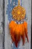 Handmade dream catcher with feathers threads and beads rope hanging. Dream catcher with feathers threads and beads rope hanging. Dreamcatcher handmade, dream royalty free stock photos