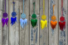 Handmade dream catcher with feathers threads and beads rope hanging. Dream catcher with feathers threads and beads rope hanging. Dreamcatcher handmade, dream stock photo