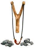 Handmade Drewniany Slingshot na bielu Zdjęcia Royalty Free