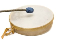Handmade Drum. Handmade reindeer leather drum Stock Photos