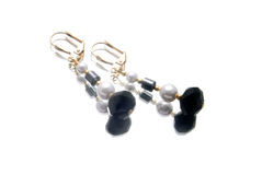 Handmade earrings with gemstones Royalty Free Stock Image