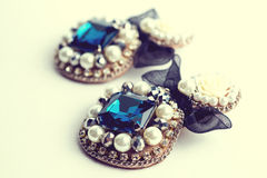 Handmade earrings with jewels. Vintage style Stock Images