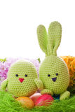 Handmade easter bunny and chick Stock Photos