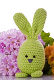 Bunny with colorful flowers. Handmade easter bunny with colorful flowers Royalty Free Stock Photo