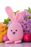 Handmade easter bunny with  easter eggs. Handmade easter bunny with colorful flowers and easter eggs Royalty Free Stock Photos