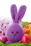 Handmade easter bunny. With colorful flowers and easter eggs Royalty Free Stock Image