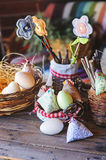 Handmade easter decorations in country house Royalty Free Stock Photos