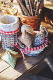 Handmade easter decorations, fabric chicken and eggs in country house Stock Photos