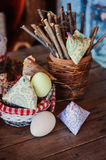 Handmade easter decorations, fabric chicken and eggs in country house Stock Images