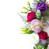 Handmade Easter decorations. On a white isolated background, flowers, blossom and eags royalty free stock image