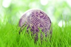 Handmade Easter egg on the grass Royalty Free Stock Image