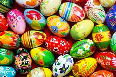 Handmade Easter eggs background. Spring patterns art Stock Photography