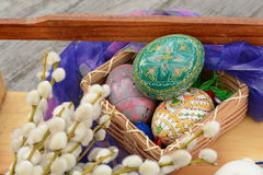 Handmade, easter eggs close up. Handmade, easter eggs and willow close up Royalty Free Stock Image