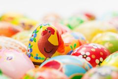Handmade Easter eggs collection. Spring, chicken patterns Stock Image