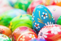 Handmade Easter eggs collection. Spring patterns art Stock Photo