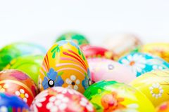 Handmade Easter eggs collection. Spring patterns art, unique. Royalty Free Stock Images
