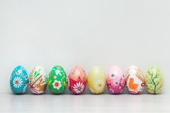 Handmade Easter eggs collection. Spring patterns art Royalty Free Stock Photos