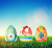 Handmade Easter eggs on grass. Spring patterns art Royalty Free Stock Photos